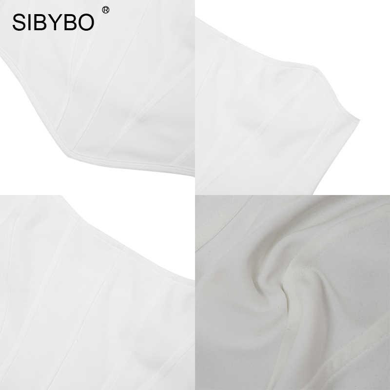 SIBYBO ストラップレス不規則なスリムクロップトップ女性オフショルダー夏のセクシーな女性背中のホワイトビーチウエアタンクトップ女性