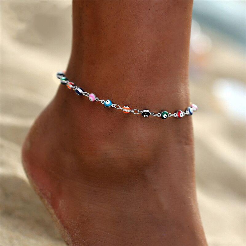 Bohemian Multicolored Turkish Eyes Beads Anklets for Women Turtle Shell Ankle Bracelet Summer Foot Bracelet Ocean Beach Jewelry
