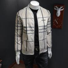 Casual Mens Outfit One Piece Striped Jacket Handsome Coat Zipper Plus Size Plaid Baseball Uniform
