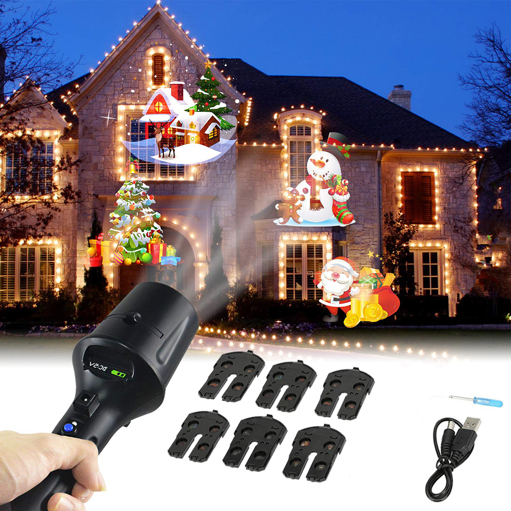 7 Slideshow Christmas LED Flashlight Projector Light Stage Light Snowflake Projection Outdoor Waterproof Home Garden Decor