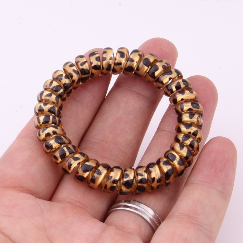 Leopard Silicone Rubber Bands For Women High Elasticity Spring Elastic Hair Bands For Girls Telephone Line Hair Rope Accessories