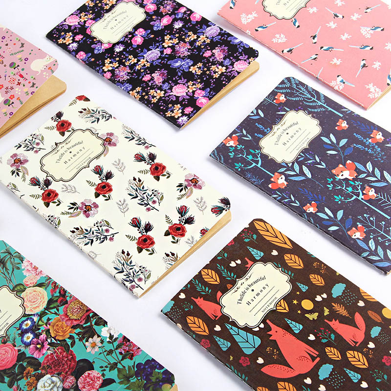 1PC Cute Flower Diary Sketchbook Vintage Journal Kraft Paper Notebooks For Kid Girl School Office Supplies Stationery
