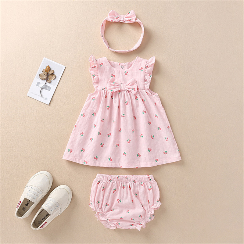Baby Girl Newborn Toddler Kids Infant Strawberry Flower Dress Summer Clothes Top