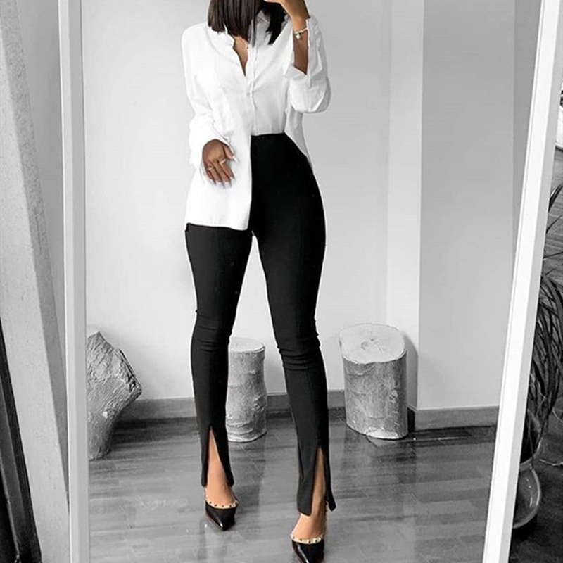 Office Lady Skinny Fit Stretchy Flare Pants With Slits Women Solid High Waist Push Up Buttom Ankle Length Trousers