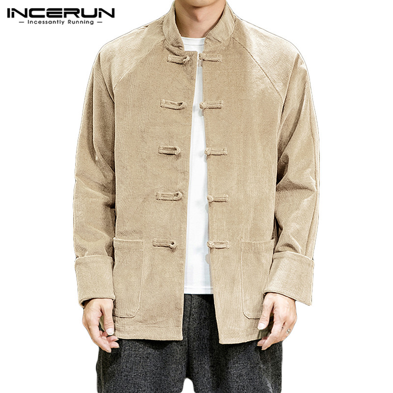 INCERUN Chinese Style Men Corduroy Shirt Loose Solid Button Stand Collar Long Sleeve Streetwear Casual Camisa Retro Shirts Men 7