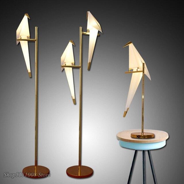 Vogel Papier Boden lampe Nordic gold boden licht Schlafzimmer wohnzimmer origami licht Studie Lesen tisch lampe Deco Leuchte