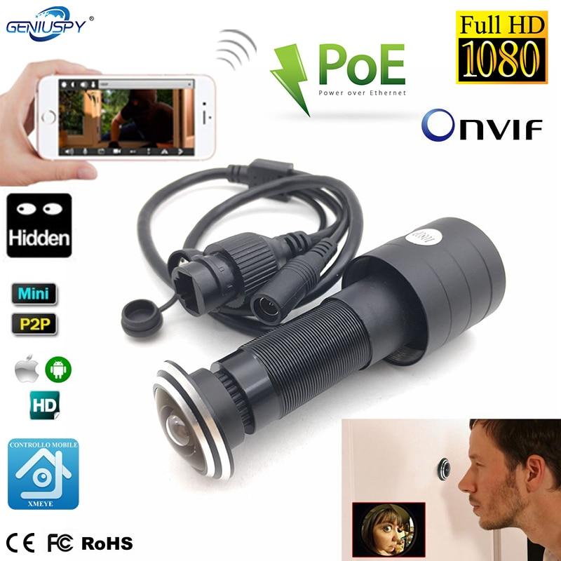 1080P HD Indoor Door Eye Hole H.265 1.78mm Lens Wide Angle 178Degree CCTV Network Mini Peephole POE Door IP Camera P2P Onvif