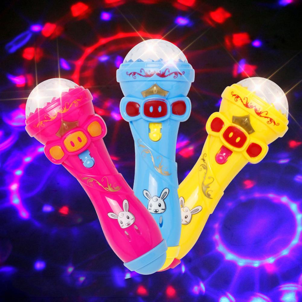 Cute Microphone Shape LED Flashing Projection Glow Stick Kids Toy Party Props  Karaoke Light Toys For Kids Gifts