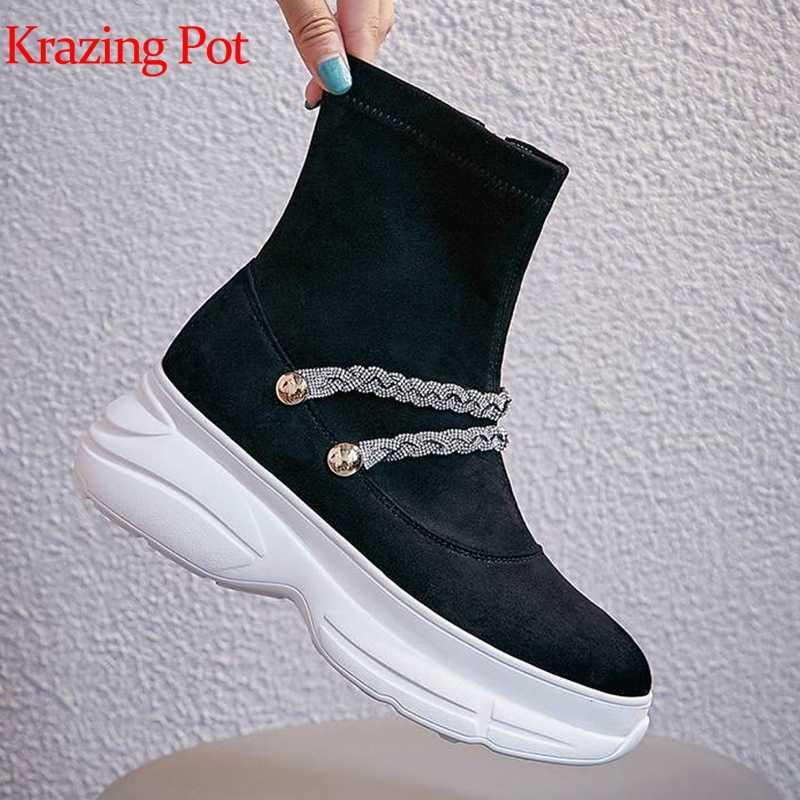 Krazing pot muhteşem akın kristal fermuar yuvarlak ayak metal zincirler kalın alt kadın punk İngiliz parlak bling orta buzağı çizmeler L53