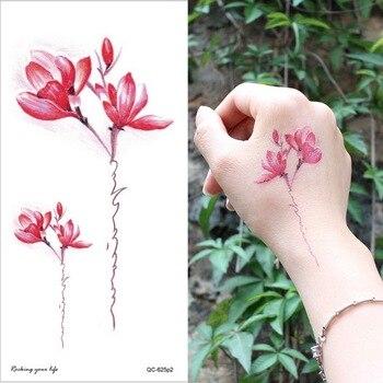 temporary armband tattoos waterproof temporary tattoo sticker flower lotus tattoo sleeve women wrist arm sleeves tatoo fake girl 4