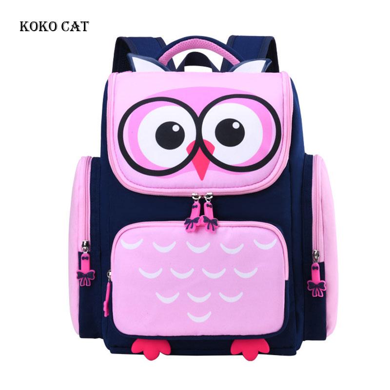 Breathable 3D Owl Printed Kids Schoolbags Girls Cartoon Primary School Backpack Orthopedic Daypack Mochila Infantil Escolares