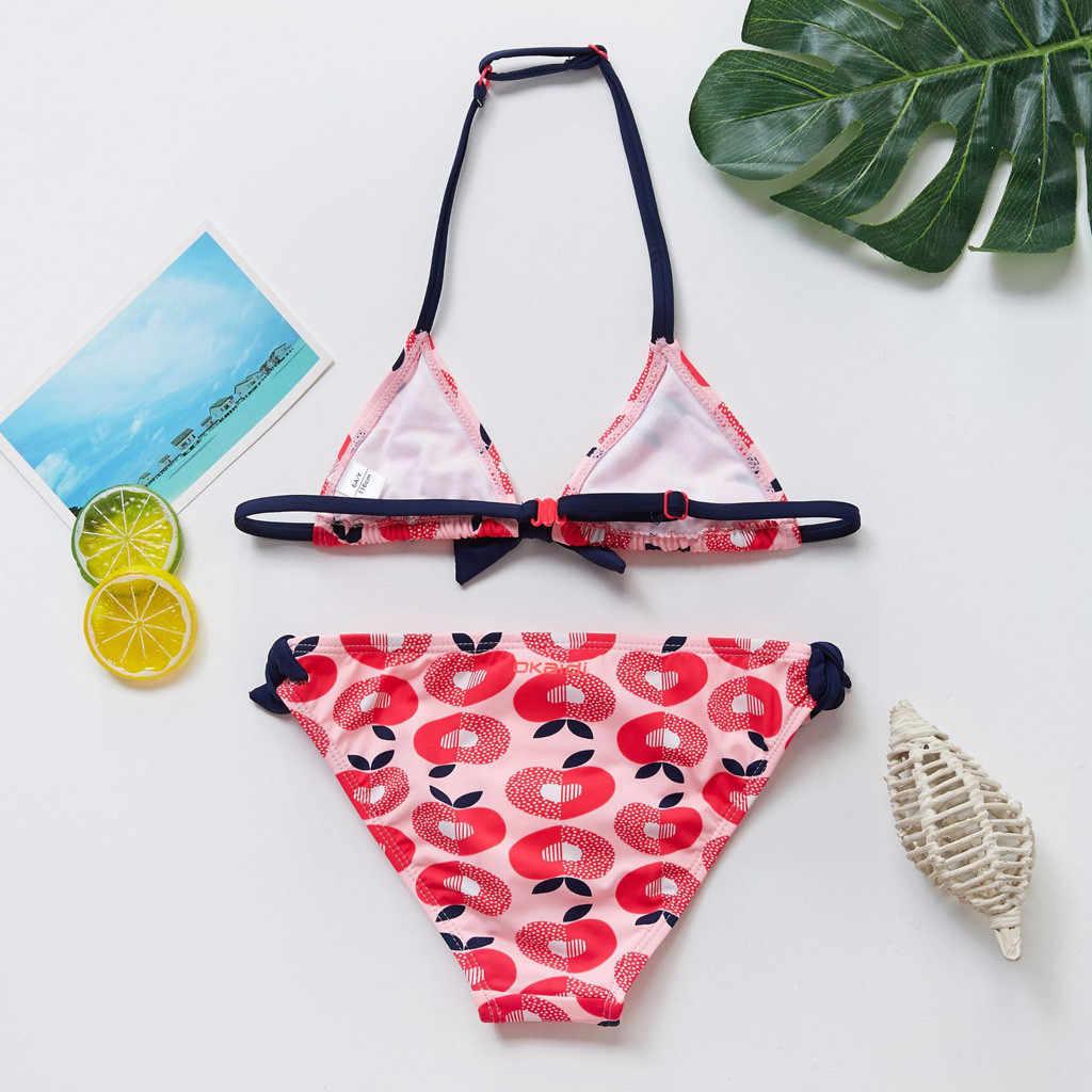 New 2020 Children Two Piece Swimwear Kids Girls Bikini Beach Swimsuit+Shorts Swimwear Set Beachwear Children Clothing #3.9