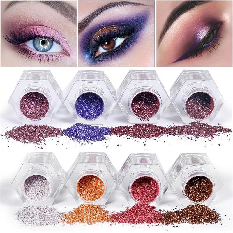 Shimmer Glitter Eye Shadow Loose Powder 8 Color Makeup Pigment Waterproof Diamond Eyeshadow Nude Eyes Shining Cosmetics
