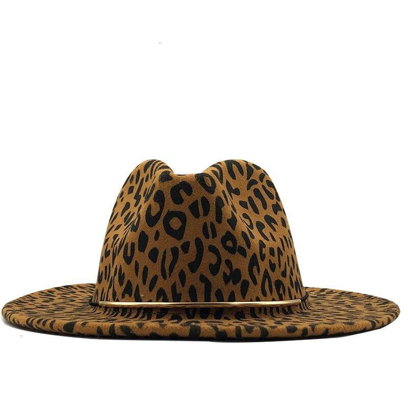 Simple Unisex Flat Brim Wool Felt Jazz Fedora Hats Men Women Leopard Grain Leather Band Decor Trilby Panama Formal Hats
