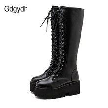Gdgydh – bottes hautes en cuir Pu à talons épais pour femme, bottes longues à lacets, rétro Punk, nouvelle collection automne 2020