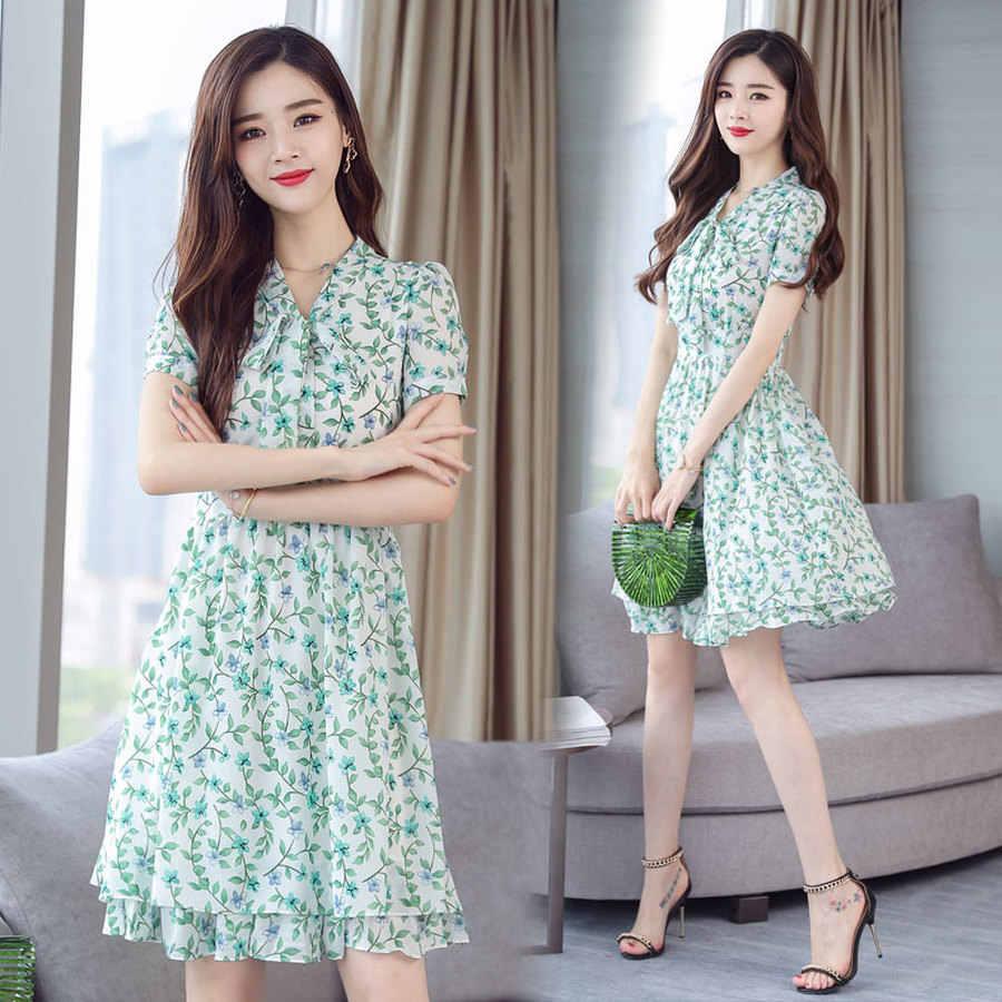 2019 женская корейская винтаж 3XL плюс размер розовой печати пляжная одежда новый летний богемный шифон мини сладкий юбка с бантом воротник женский одеваются одеваются Vestidos