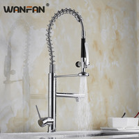 Kitchen Faucets Brush Brass Faucets for Kitchen Sink Single Lever Pull Out Spring Spout Mixers Tap Hot Cold Water Crane N22 156