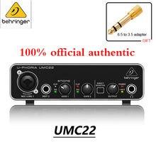 100% original autêntico behringer umc22/um2 placa de som áudio interface amplificador