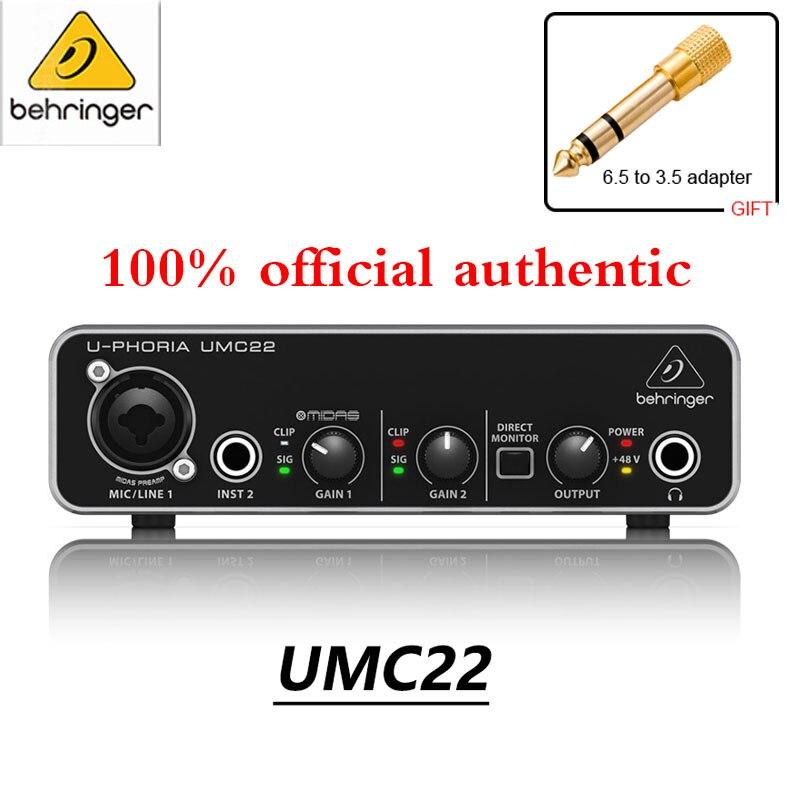 Звуковая карта Behringer UMC22/UM2, усилитель аудио интерфейса, микрофон Shure SV200C