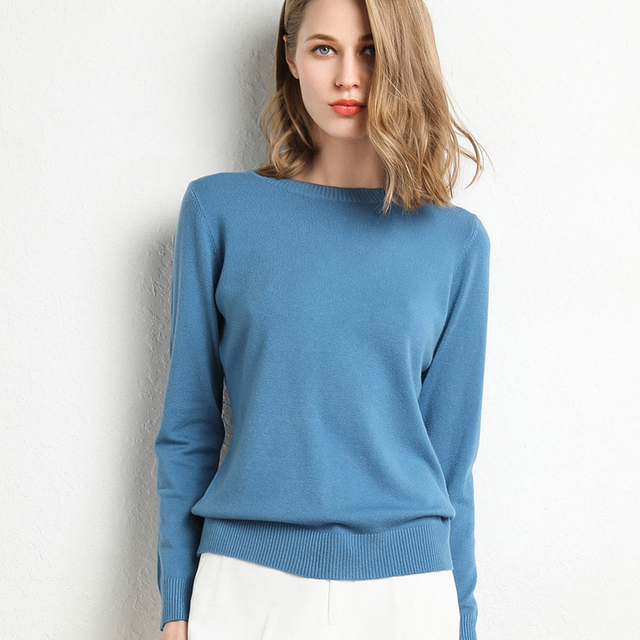 New Women Sweater Autumn Winter Clothes Solid Round Neck Sweater Jumper Long-sleeved Knitted Pullovers Shirt Female Tops 5