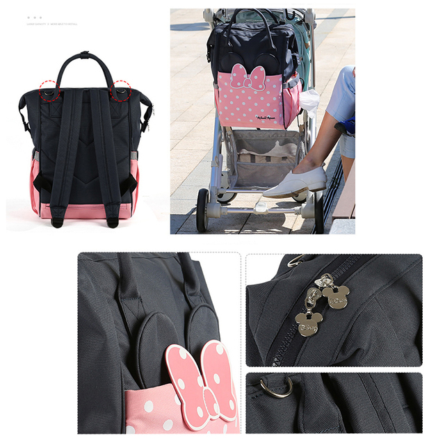 Disney Diaper Bag Backpack Large Capacity Maternity Mummy Bag Travel Backpack Baby Care Baby Nappy Bag USB Bottle Heating 2019 | Happy Baby Mama
