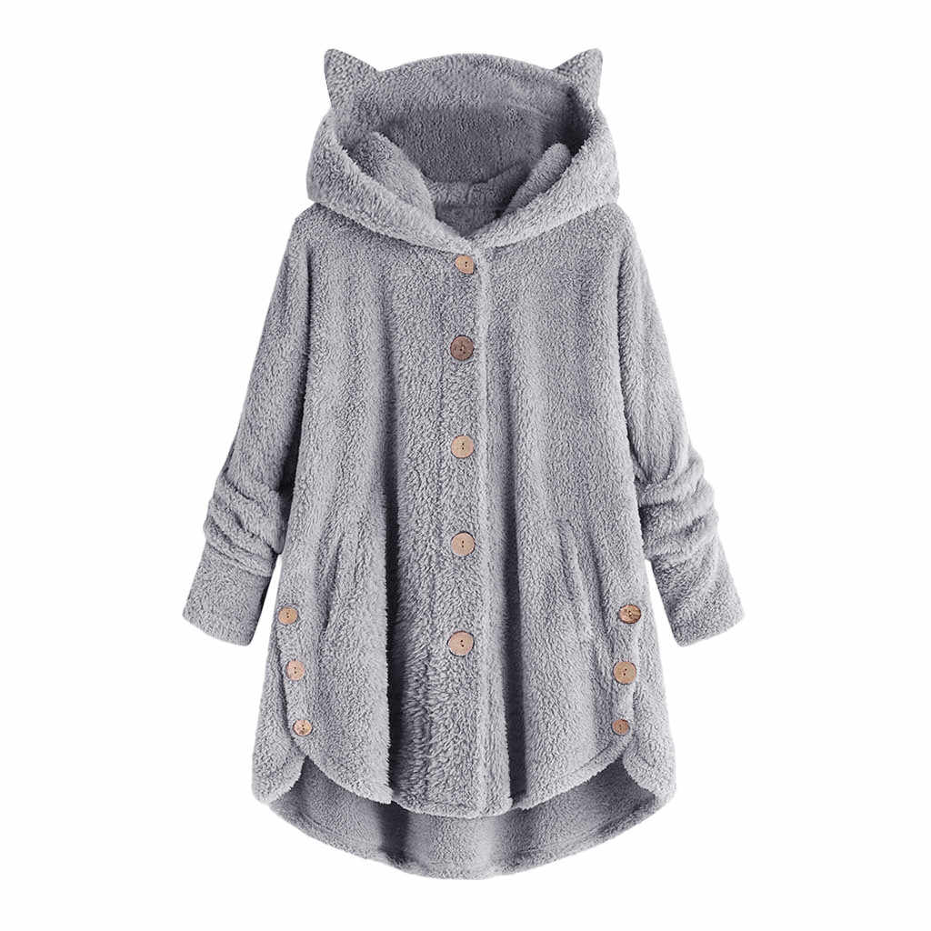Frauen Flauschigen Mantel Lose Hoodie Sweatshirt Solid Winter Kawaii Katze Ohr Mit Kapuze Hoodie Tasten Fleece Jacken Trainingsanzug CoatW5