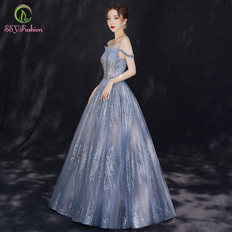 SSYFashion New Grey Blue Evening Dress Boat Neck A-line Floor-length Sequin Shining Long Prom Gown Formal Dress Vestido De Noche