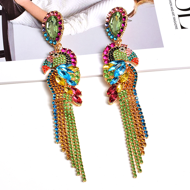ZA New Bird-Shaped Colorful Rhinestone Metal Long Dangle Drop Earrings Fine Crystals Chain Tassels Jewelry Accessories For Women