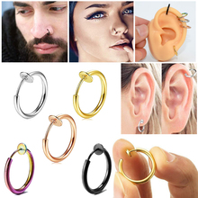 5PCS Clip On Earrings Fake Spring Clip On Labret Nose Clips Ring Stealth Hoop Lip Ring Helix Ring hoop No Piercing earring