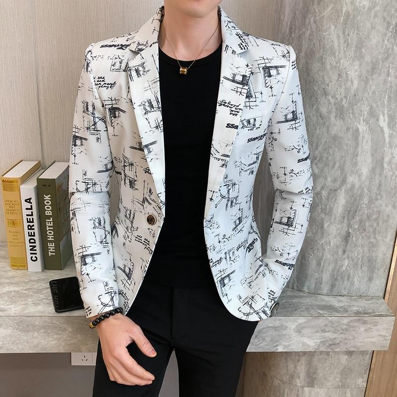 Fashion Print Blazer Masculino Single Button Long Sleeve Men Blazers Slim Fit Mens Suits Jacket Casual Streetwear Men Clothing 1