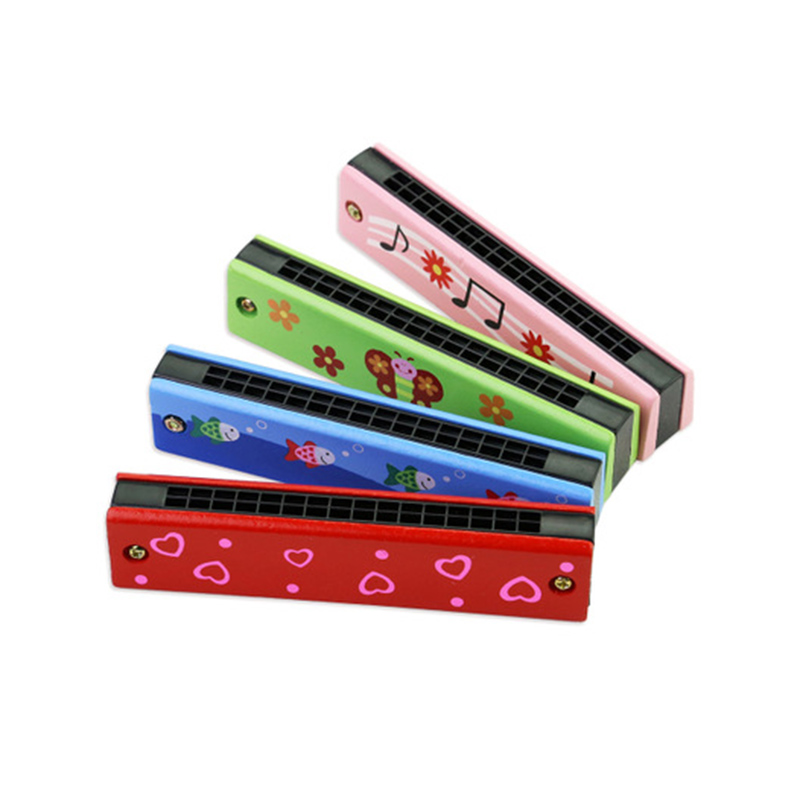 Wooden Harmonica for Children Toys Musical Instruments 16 Holes Double-Row Blow Cartoon Color Woodwind Mouth Educational Toy