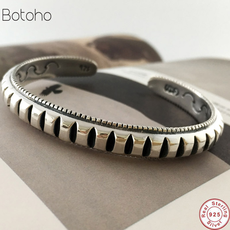 Opening Solid Silver 925 Mens Bracelet Thick Band Gear Cuff Bangle Brief Real Sterling Silver 925 Men Jewelry