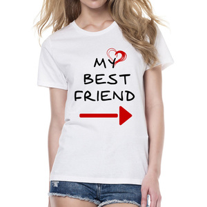 Women Cute Matching Letter T-shirt BFF T-shirts Womens Lovers Tee Shirts My Best Friend Printing Shirt Femme Clothes Streetwear