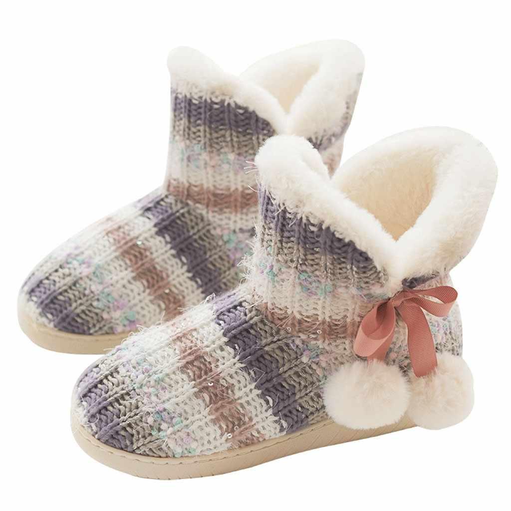Çizgili kış çizmeler kadın sıcak tutmak kapalı ev dilsiz sevimli yumuşak peluş topu kadın iç botları Ботинки Женские damla