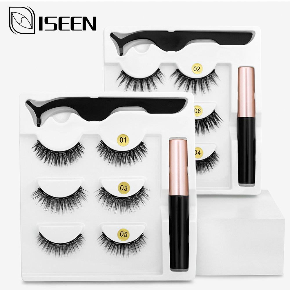 Magnetic Eyelashes 3D Mink Fake Eyelash Magnet Eyeliner Mink Fake Eyelash Waterproof Liquid Tweezers Set Long Lasting Eyelash 1
