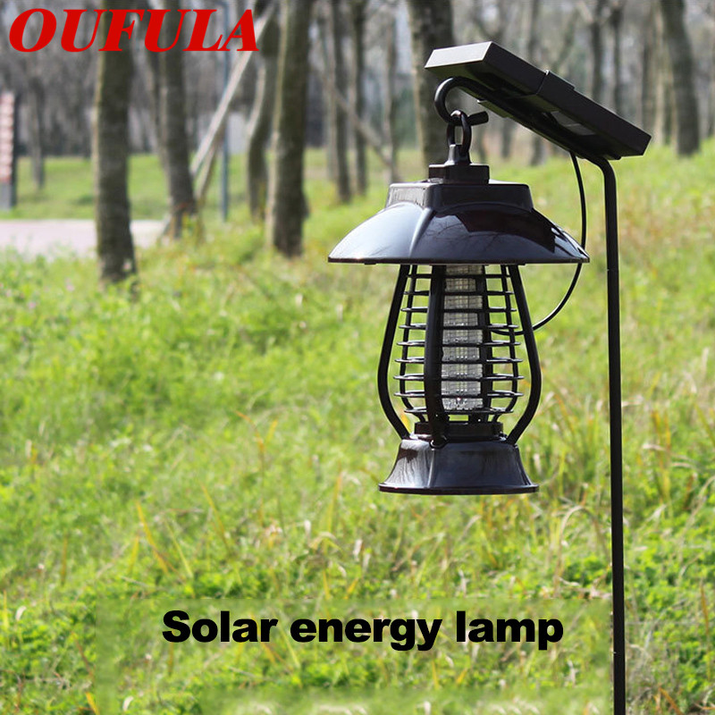 OUFULA Solar Mosquito Killer Lamp Insect Killer Lamp Rechargeable Garden Courtyard Outdoor Electronic Mosquito Repellent Lamp