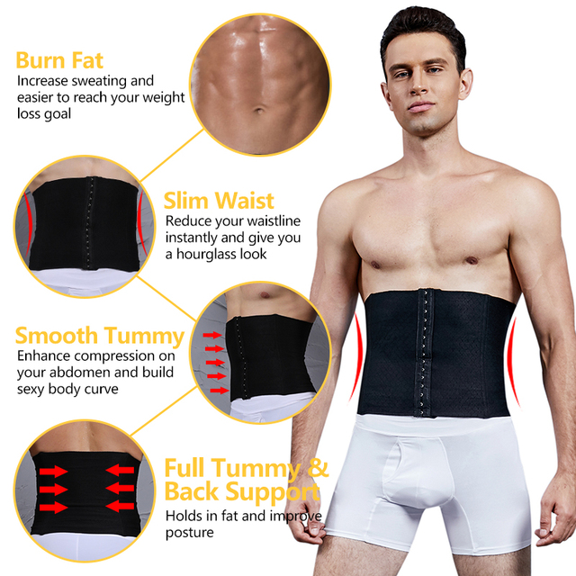 VASLANDA Men Waist Girdle Corsets Lumbar Trainer Body Shaper Fitness Sauna Sweat Belt Shapewear Fat Burning Slimming Underwear 2