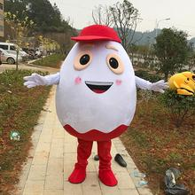Customise White Egg Mascot White Egg Mascot Costumes with Red Hat Halloween Carnival Mascot Costumes for Sale Fast Shipping