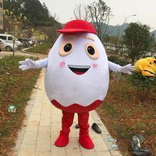 ปรับแต่งสีขาวไข่Mascotสีขาวไข่Mascotเครื่องแต่งกายสีแดงหมวกฮาโลวีนCarnival Mascotเครื่องแต่งกายสำหรับขายFast Shipping