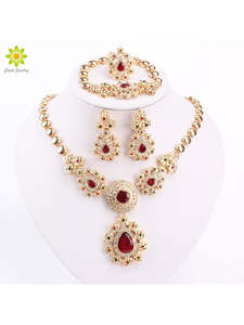 Fine-Jewelry-Sets Earrings-Sets Crystal Necklace Wedding-Accessories African Beads Gold-Color
