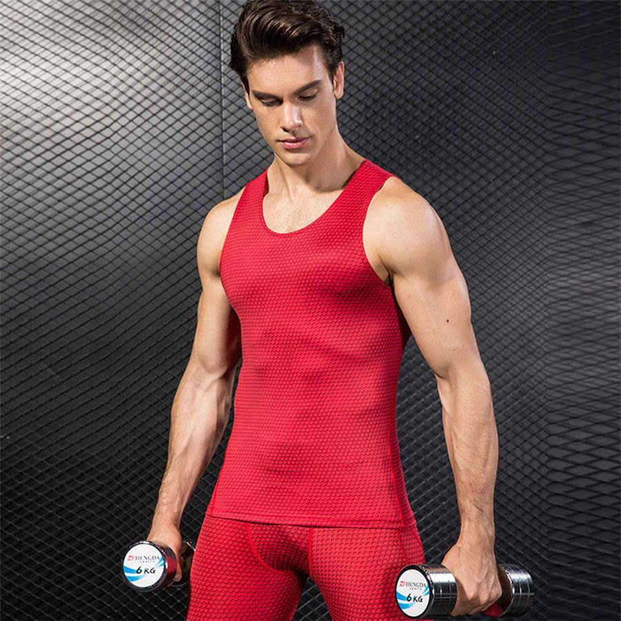 2019 Zomer Mouwloos T-shirt Sport Vest Mannen Quick Dry Compressie Panty Gym Training Tank Top Sportkleding heren Running vest