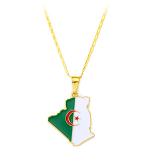 Algeria Flag Pendant Necklace