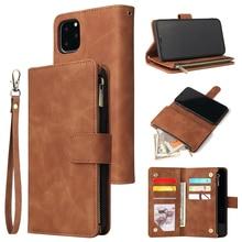 Pu 가죽 전화 케이스 애플 아이폰 11 11pro 11 프로 최대 완전히 동봉 된 보호 지갑 기능 패키지