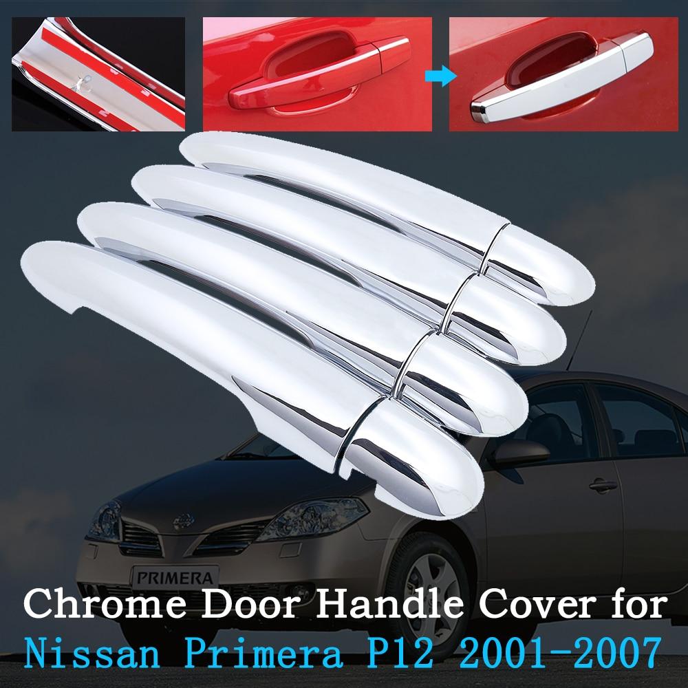 Chrome Car Door Handle Cover For Nissan Primera P12 2001~2007 Trim Set Exterior Accessories Car Sticker 2002 2003 2004 2005 2006