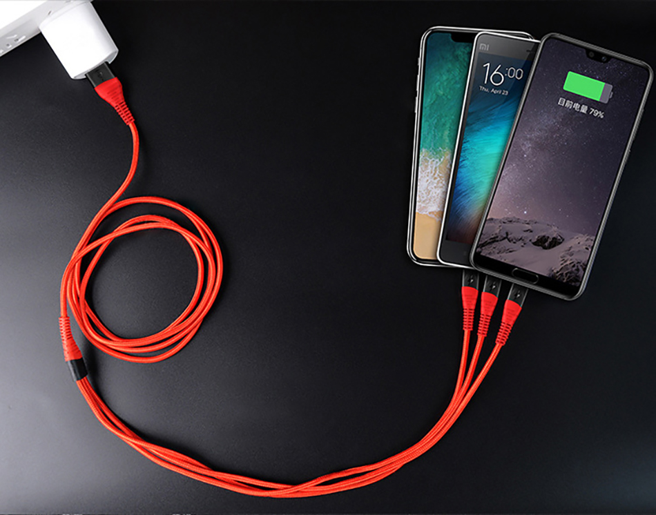 !ACCEZZ 3 in 1 Charger Cable Lighting For iPhone X XS MAX XR 8 7 Plus Micro USB Type C Charging For Mi9 8 Huawei P30 Data Cable (21)