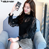 Spring Stand Collar Hollow Out Blouse Elegant ruffless Office Lady black Shirt  Women Long Sleeve Lace Tops Blusa Streetwear 5