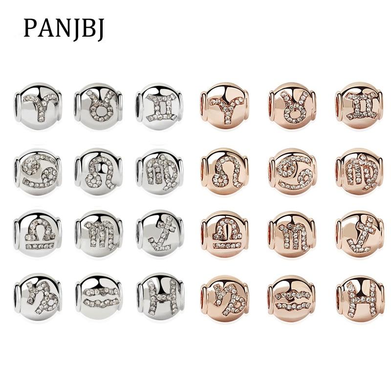 2019 New Original Alloy Bead Rose Gold Zodiac Birthday Charm Clear CZ Fit Pandora Bracelet Bangle Necklace DIY Women Jewelry(China)