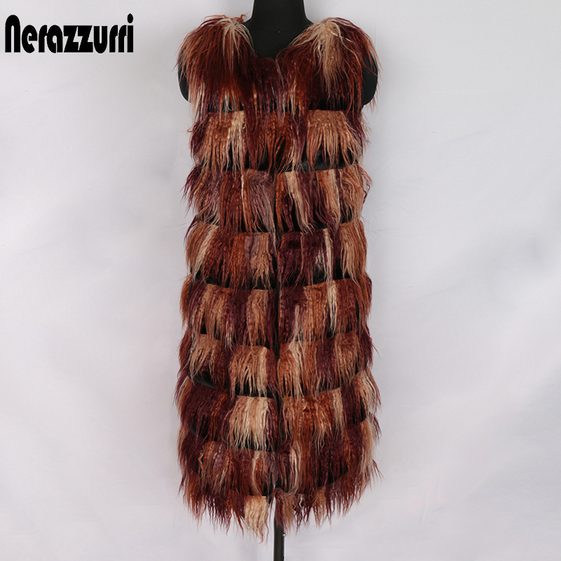 Nerazzurri Autumn Winter Multicolor Faux Fur Vest Women O Neck Hairy Shaggy Fake Mongolian Sheep Fur Waistcoat Striped Colorful Sleeveless Jacket For Women Plus Size Womens Long Ladies Vests Thick Warm Fake Fur Gielt