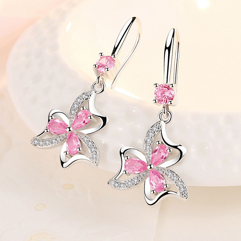 Fanqieliu 925 Sterling Silver Earrings Female Wedding Jewelry Luxury Crystal Earrings For Women Flower Drop Earrings FQL20012