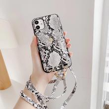 DIY yılan derisi deri crossbody cüzdan telefon kılıfı için iPhone 11 11Pro XR X XS Max 7 8 artı 12Pro kadın askısı kordon telefon kılıfı
